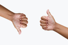 Thump up hand sign isolated on white Stock Photos