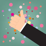 Thump up vector sign in flat style, hand like Stock Photography