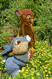 Disney Characters Topiary. An image of the the Thumper and Bambi  topiary representative of the 2014 Epcots International Flower and Garden Festival at Disney Royalty Free Stock Photography