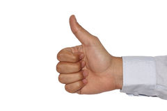 Thumps up sign or clinton sign with white background. A male right hand with white background. The thumb is up and all fingers are visible. This sign is also Stock Images