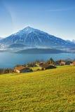 Thun湖村庄在冬天上午安置看法 免版税库存照片