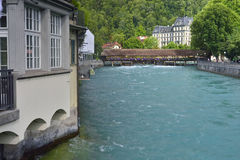 Thun bridges from Thun city. Switzerland Royalty Free Stock Photo