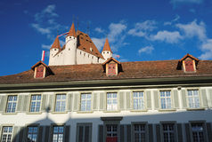 Thun Castle dominating the Thun skyline (Switzerland) Royalty Free Stock Photography