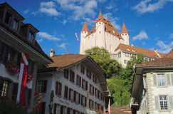Thun Castle dominating the Thun skyline (Switzerland) Stock Images