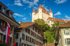 Thun Castle dominating the Thun skyline Switzerland. Thun is a city and municipality in the administrive district of Thun in the canton of Bern. Thun Castle is royalty free stock images