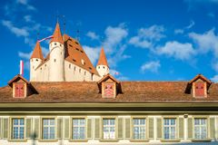 Thun Castle dominating the Thun skyline Switzerland. Thun is a city and municipality in the administrive district of Thun in the canton of Bern. Thun Castle is royalty free stock photography