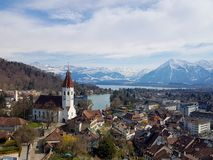 Thun city view from the castle. stock images