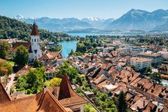 Thun city with Alps mountain and lake in Switzerland Stock Images