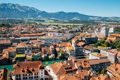 Thun city with Alps mountain and lake in Switzerland Stock Photography