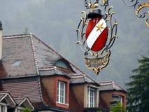 Thun, die Schweiz 08/03/2009 Unterzeichnen Sie herein Schmiedeeisen stockfotografie