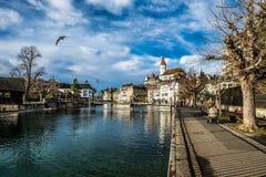 Thun i Schweiz Fotografering för Bildbyråer