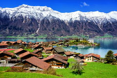 Thun lake, Switzerland. Swiss village resort near Interlaken, Switzerland Royalty Free Stock Photo
