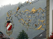 Thun, Switzerland. 08/03/2009. Sign in wrought iron royalty free stock photo