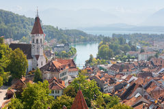 Thun and Thun lake in september Stock Image