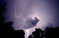 Thunder. An image of lighting on wening sky Stock Image
