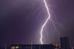 Thunder - beautiful powerful lighting over city Royalty Free Stock Photos