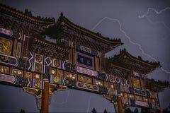 Thunder in BEIJING. Ditan pailou with thunder shot in beijing Stock Images