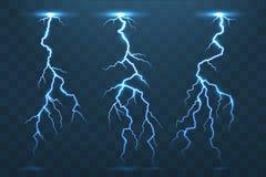 Thunder bolt and lightnings, thunderstorm electricity flash. Ele vector illustration