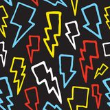 Thunder bolts seamless vector pattern Stock Photos
