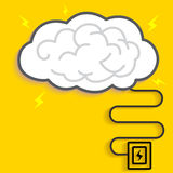 Thunder Brain Charging. Cloud charge Royalty Free Stock Photo
