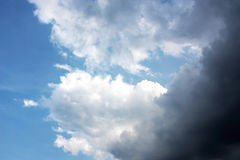 Thunder cloud and Beautiful blue sky. Stock Photos