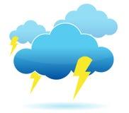 Thunder cloud and lightning illustration Royalty Free Stock Photos