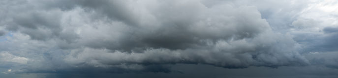 Thunder clouds. Panoramic view of ominous clouds Royalty Free Stock Images
