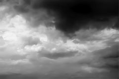Thunder clouds background in Black and White Royalty Free Stock Photos