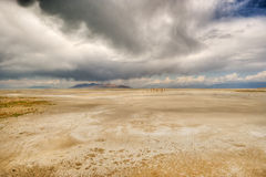 Thunder clouds giving hope to the desert Stock Images