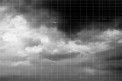 Thunder clouds with white square grid background in Black and White Royalty Free Stock Image