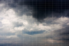 Thunder clouds with white square grid background. Stock Photography