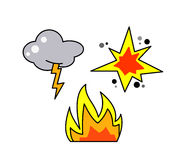 Thunder, fire and explosion icons. Vector Royalty Free Stock Photography