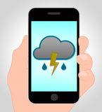 Thunder Forecast Online Shows Mobile Phone And Thunderbolt Royalty Free Stock Photo