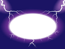Thunder frame. Empty frame with powerful energetic thunder and electric discharges Royalty Free Stock Photo