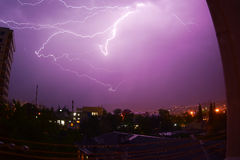 Thunder. Great thunderstorm in the city Royalty Free Stock Photography