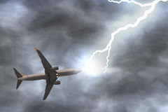 Thunder hits a plane Stock Image
