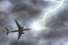 Thunder hits a plane Stock Image