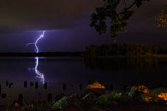 Thunder and lightening storm on the Hudson River in summer Royalty Free Stock Image