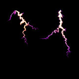 Thunder lighting bolt. High energy concept. shining electric light on black background. soft focus, copy space. Stock Photos