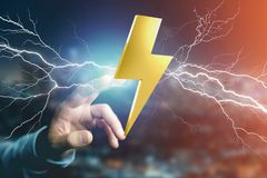 Thunder lighting bolt symbol displayed on a futuristic interface. View of a Thunder lighting bolt symbol displayed on a futuristic interface - 3d rendering Royalty Free Stock Photos