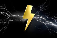 Thunder lighting bolt symbol isolated on a color background - 3d. View of a Thunder lighting bolt symbol isolated on a color background - 3d rendering Stock Images