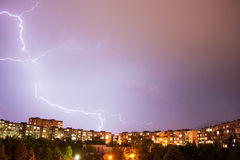 Thunder lightning in city Stock Photos