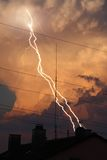 Thunder lightning cloud evening Royalty Free Stock Photos