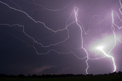 Thunder and Lightning. At the end of a hot and moistly summer day in the Netherlands Stock Image