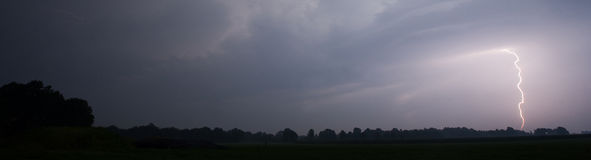 Thunder and Lightning. At the end of a hot and moistly summer day in the Netherlands Stock Images