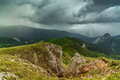 Thunder and lightning in the mountains of Adygea Royalty Free Stock Photo