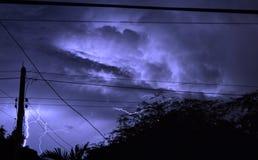 Thunder and lightning on night Stock Photo