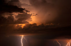 Thunder, lightnings and rain Stock Photography