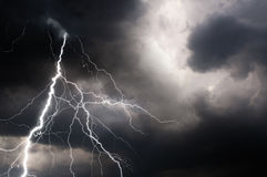 Thunder, lightnings and rain on stormy summer night Stock Photos