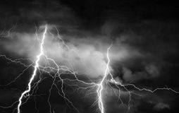 Thunder, lightnings and rain on stormy summer night Stock Photography